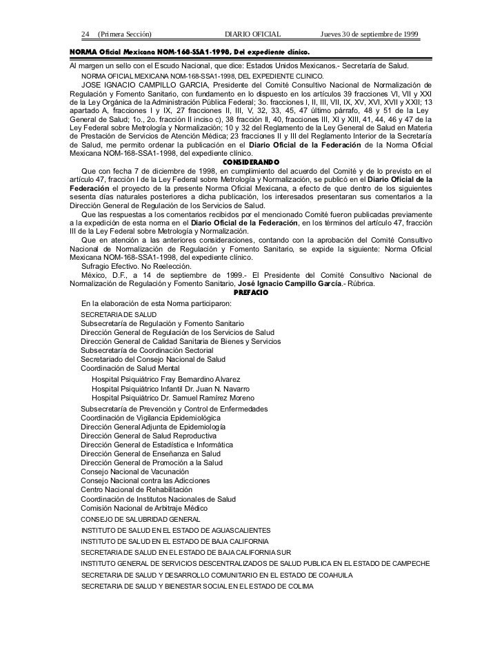 24    (Primera Sección)                        DIARIO OFICIAL                 Jueves 30 de septiembre de 1999NORMA Oficial...