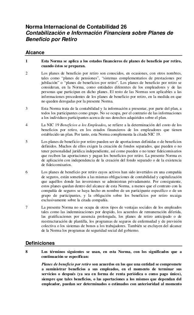 Norma internacional de contabilidad beneficio por retiro nic 26-2010