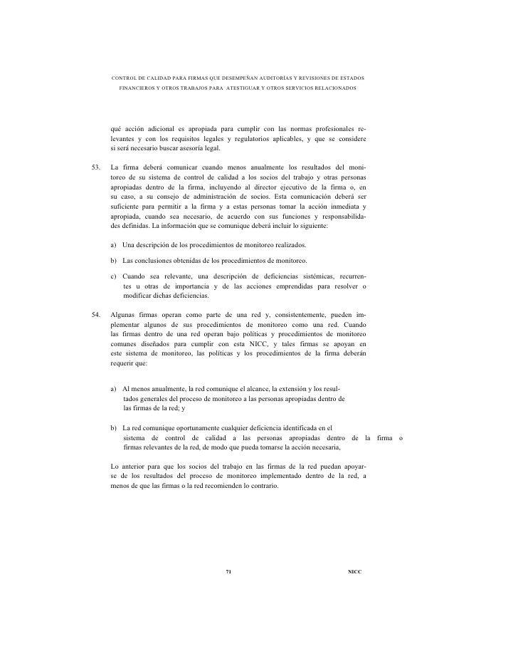 CONTROL DE CALIDAD PARA FIRMAS QUE DESEMPEÑAN AUDITORÍAS Y REVISIONES DE ESTADOS        FINANCIEROS Y OTROS TRABAJOS PARA ...