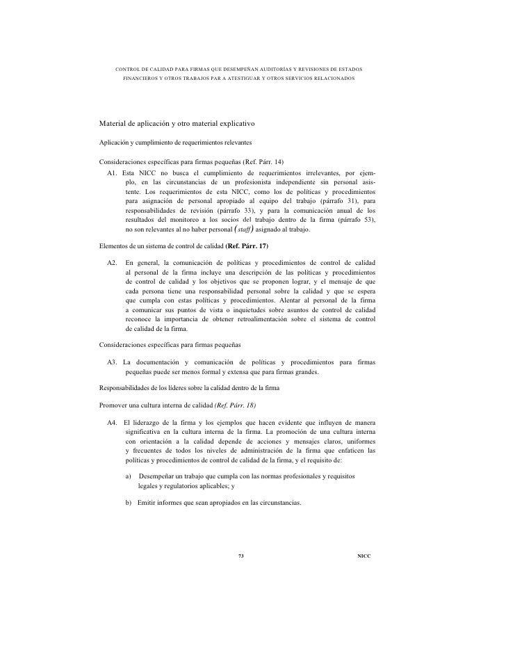 CONTROL DE CALIDAD PARA FIRMAS QUE DESEMPEÑAN AUDITORÍAS Y REVISIONES DE ESTADOS         FINANCIEROS Y OTROS TRABAJOS PAR ...