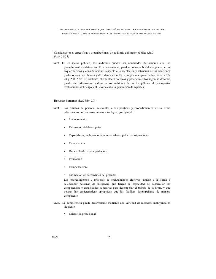 CONTROL DE CALIDAD PARA FIRMAS QUE DESEMPEÑAN AUDITORÍAS Y REVISIONES DE ESTADOS         FINANCIEROS Y OTROS TRABAJOS PARA...