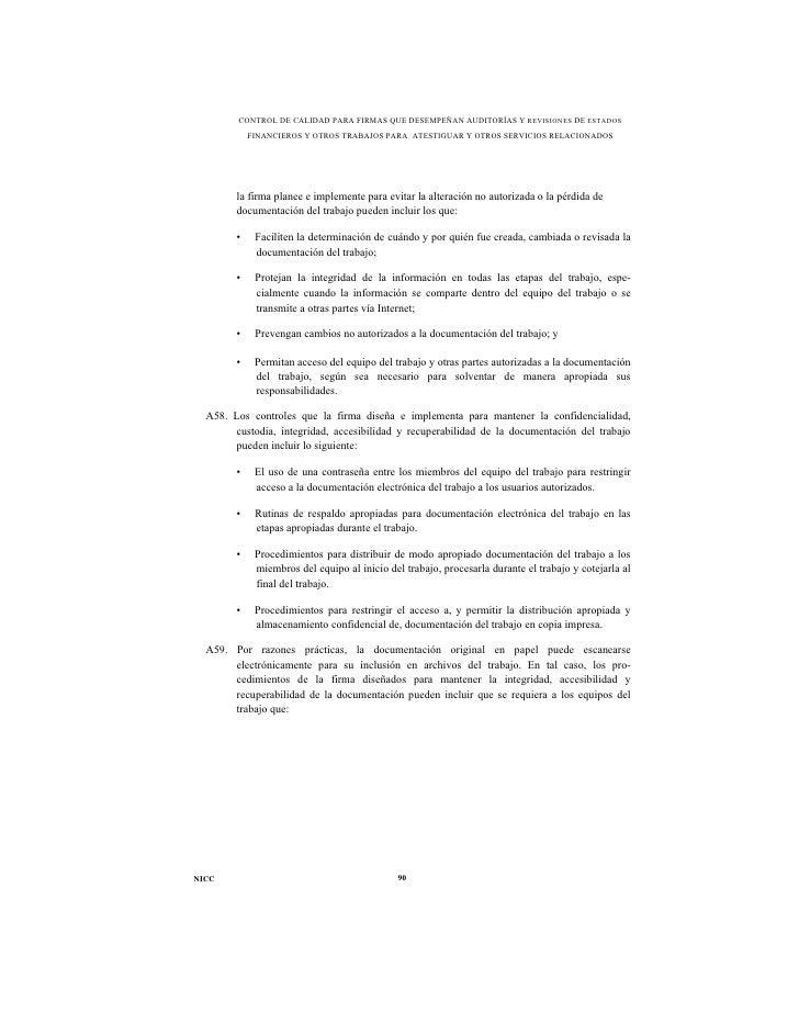 CONTROL DE CALIDAD PARA FIRMAS QUE DESEMPEÑAN AUDITORÍAS Y REVISIONES DE ESTADOS            FINANCIEROS Y OTROS TRABAJOS P...