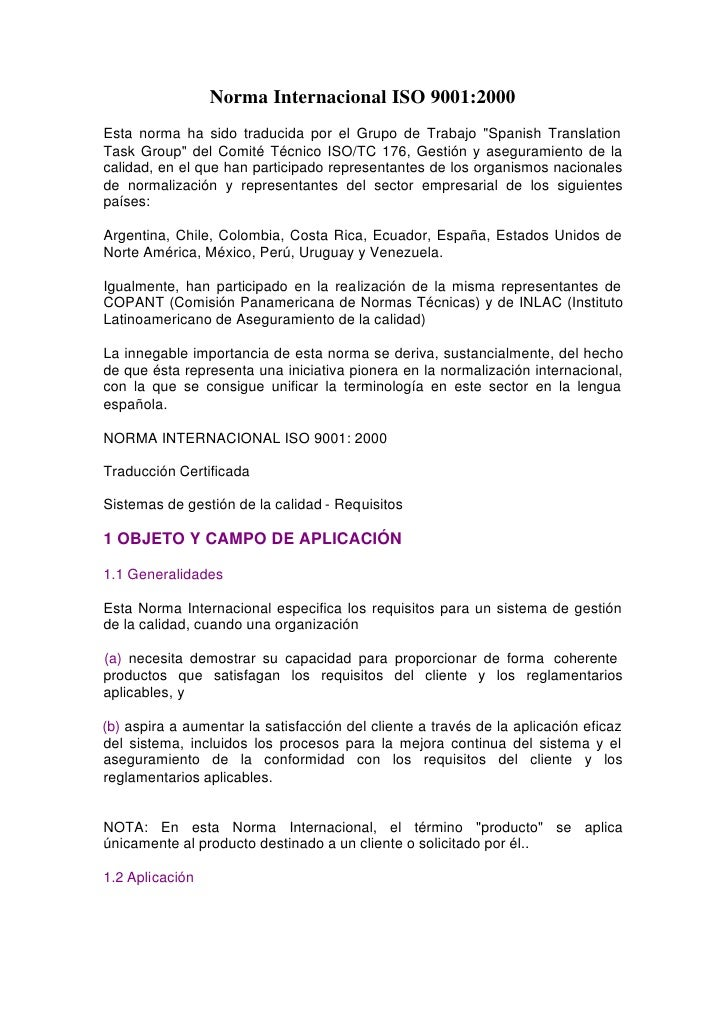 """Norma Internacional ISO 9001:2000Esta norma ha sido traducida por el Grupo de Trabajo """"Spanish TranslationTask Group"""" del ..."""