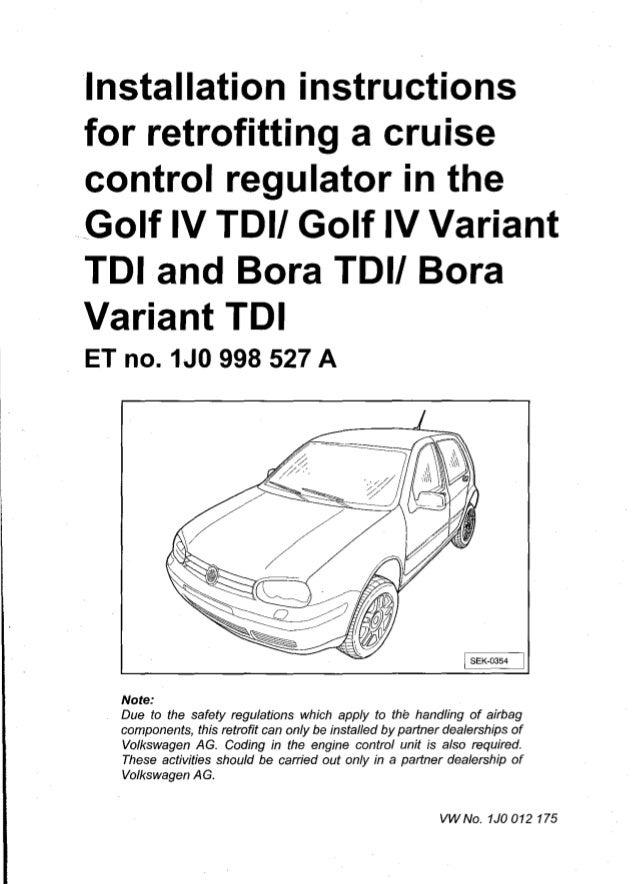 Installation instructions for retroing a cruise control ... on