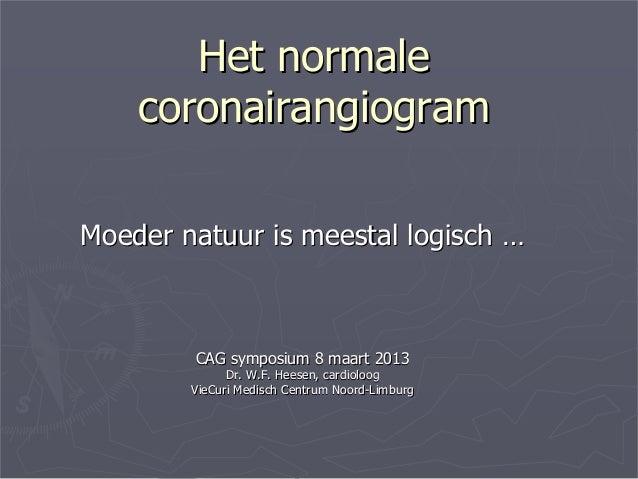 Het normaleHet normalecoronairangiogramcoronairangiogramMoeder natuur is meestal logischMoeder natuur is meestal logisch …...