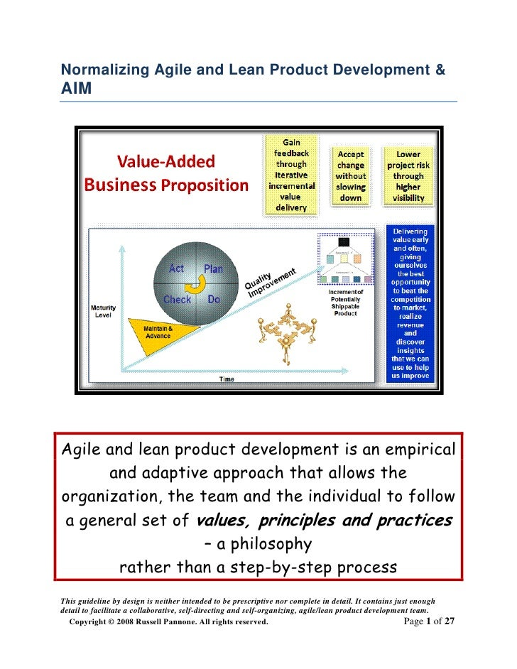 Normalizing Agile and Lean Product Development & AIM     Agile and lean product development is an empirical       and adap...