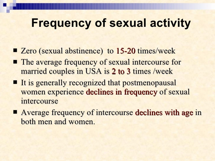 Normally sex frequency for married couples