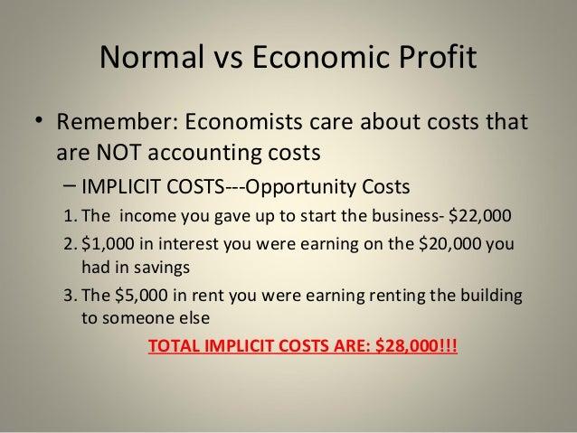 normal vs economic profits