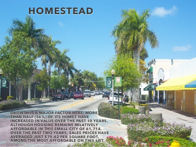 HOMESTEAD GROWTH IS A MAJOR FACTOR HERE; MORE THAN HALF (56%) OF ITS HOMES HAVE INCREASED IN VALUE OVER THE PAST 10 YEARS,...