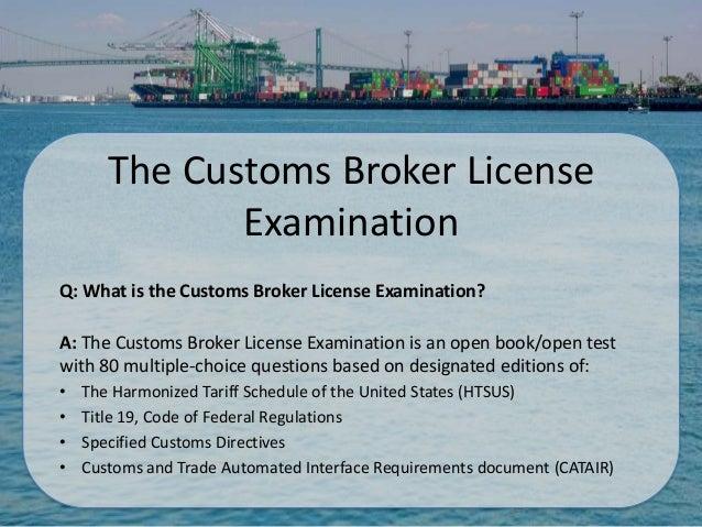Customs brokers qualifying examination codes  :: riagareesty ml