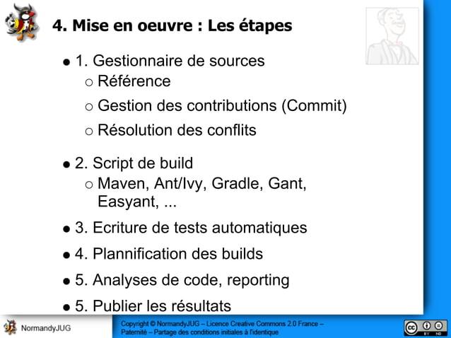 4. Mise en oeuvre : Les étapes 1. Gestionnaire de sources Référence Gestion des contributions (Commit) Résolution des conf...