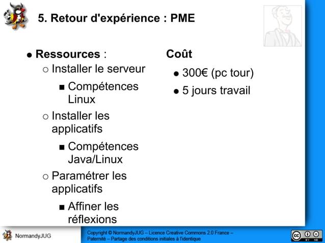 Ressources : Installer le serveur Compétences Linux Installer les applicatifs Compétences Java/Linux Paramétrer les applic...