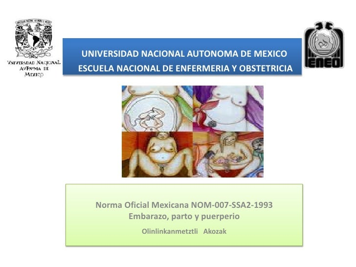 UNIVERSIDAD NACIONAL AUTONOMA DE MEXICOESCUELA NACIONAL DE ENFERMERIA Y OBSTETRICIA   Norma Oficial Mexicana NOM-007-SSA2-...