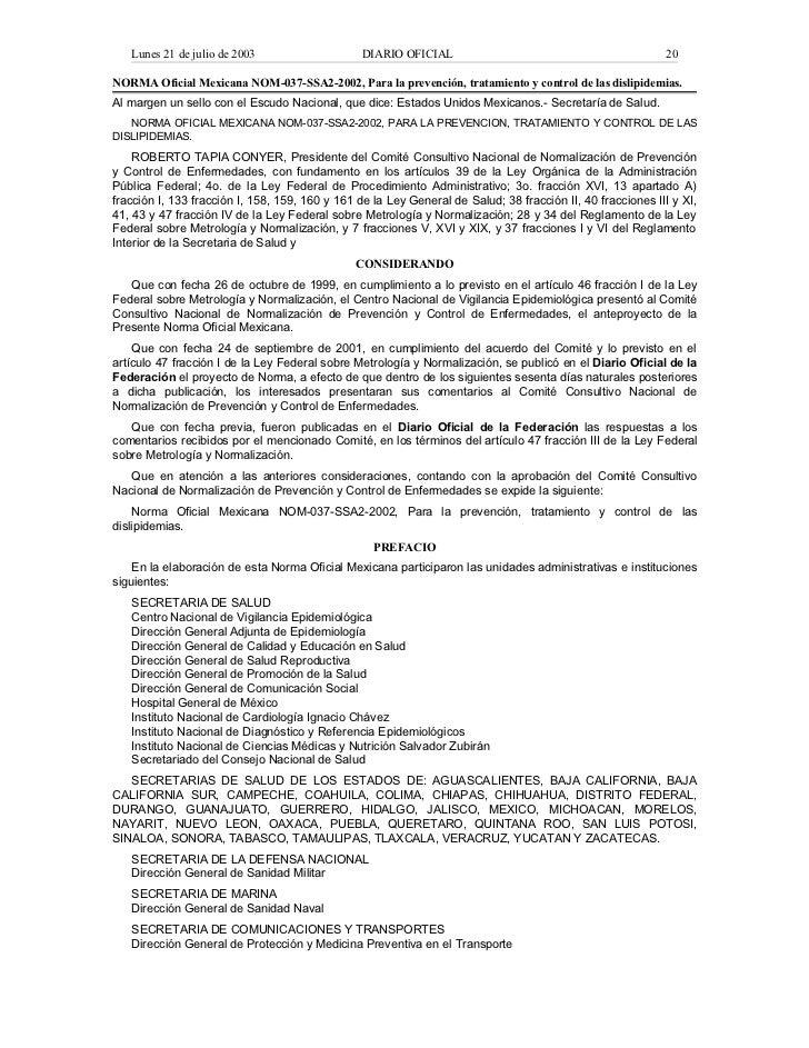 Norma oficial mexicana nom 037-ssa2-2002, para la prevención, tratamiento y control de las dislipidemias.