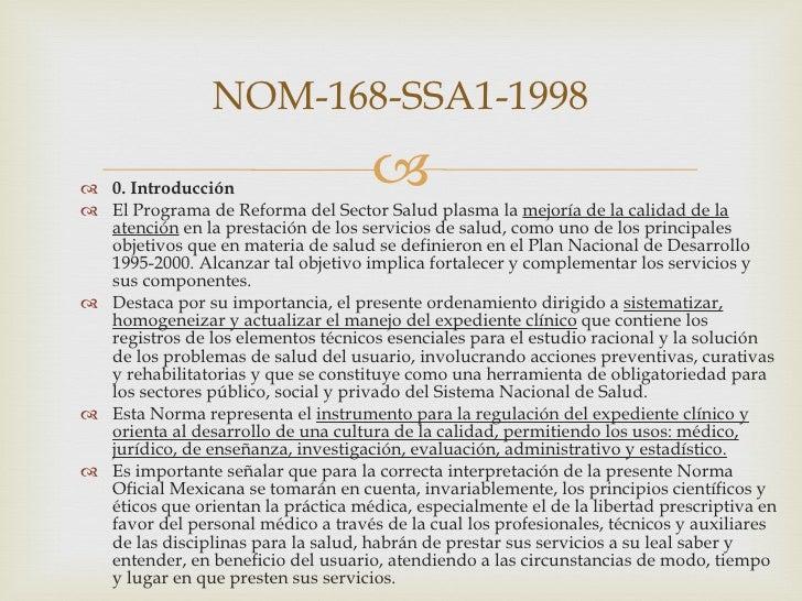 NORMA 168 EXPEDIENTE CLINICO PDF