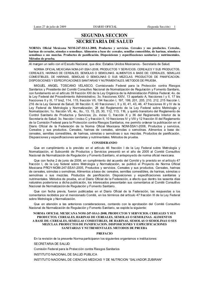 Lunes 27 de julio de 2009                     DIARIO OFICIAL                           (Segunda Sección)    1             ...
