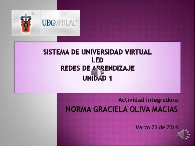 Actividad Integradora NORMA GRACIELA OLIVA MACIAS Marzo 23 de 2014