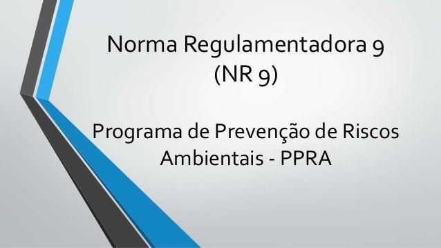 Norma Regulamentadora 9 (NR 9) Programa de Prevenção de Riscos Ambientais - PPRA