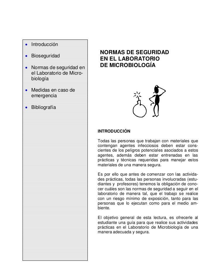 Introducción                               NORMAS DE SEGURIDAD  Bioseguridad                               EN EL LABORATOR...