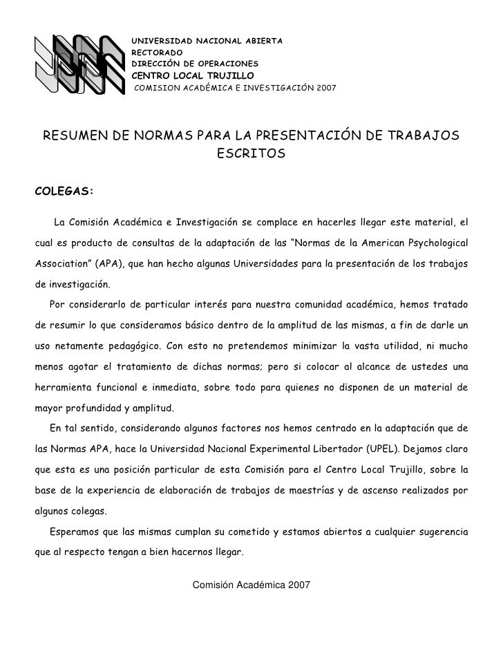 UNIVERSIDAD NACIONAL ABIERTA                     RECTORADO                     DIRECCIÓN DE OPERACIONES                   ...