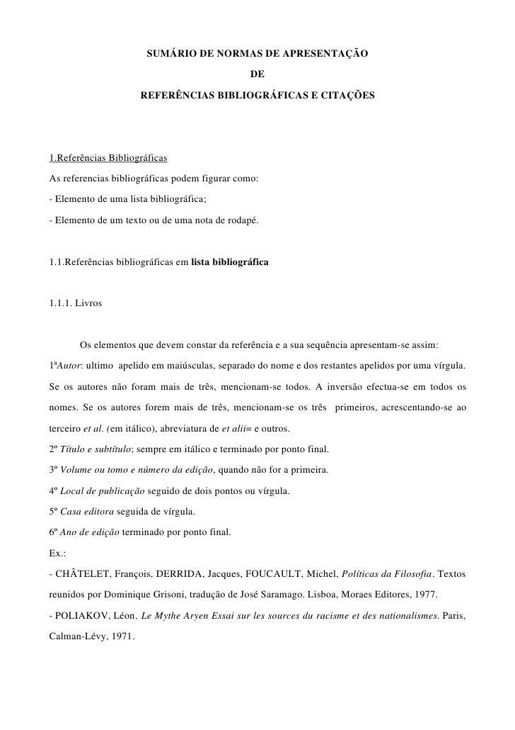 SUMÁRIO DE NORMAS DE APRESENTAÇÃO                                                      DE                         REFERÊNC...