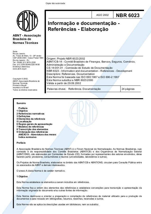 Cópia não autorizada                                                                                AGO 2002      NBR 6023...