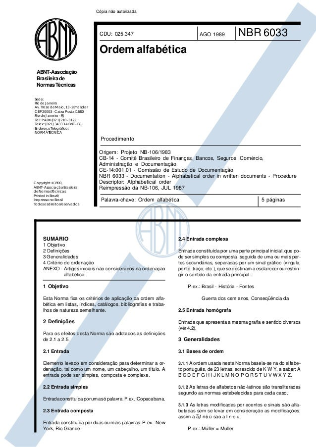 Cópia não autorizada                                     CDU: 025.347                             AGO 1989           NBR 6...
