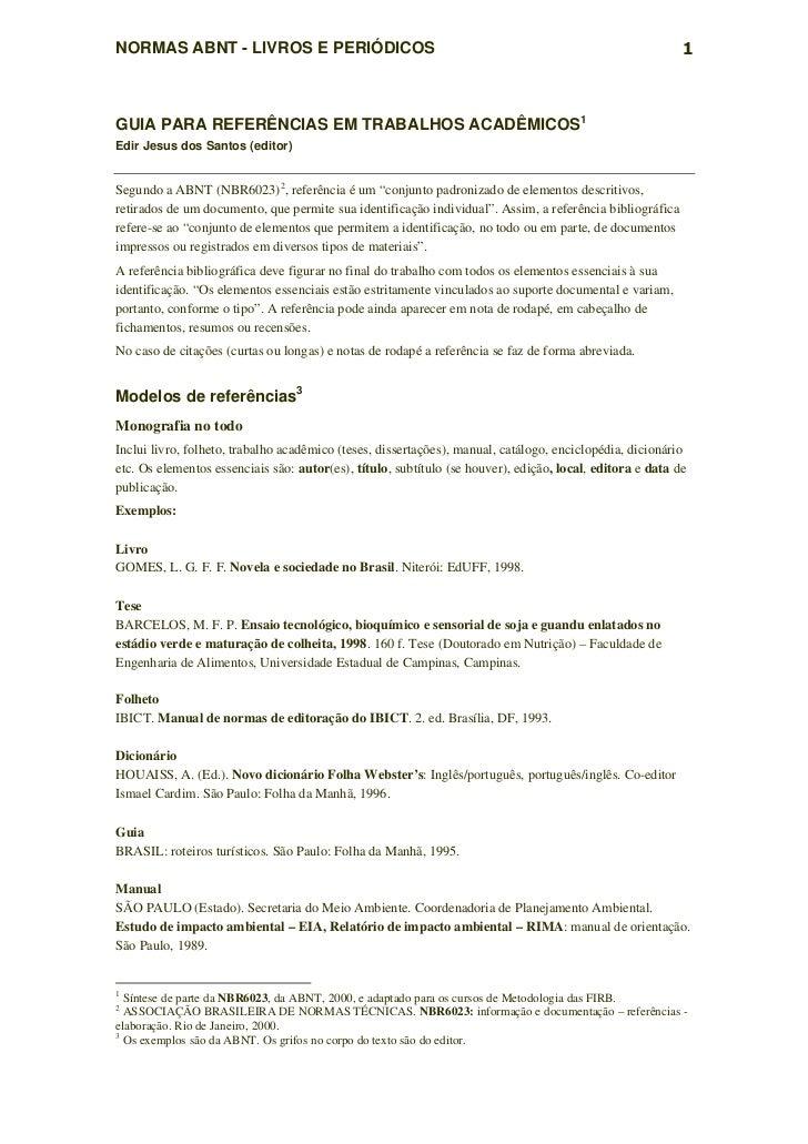 NORMAS ABNT - LIVROS E PERIÓDICOS                                                                          1GUIA PARA REFE...