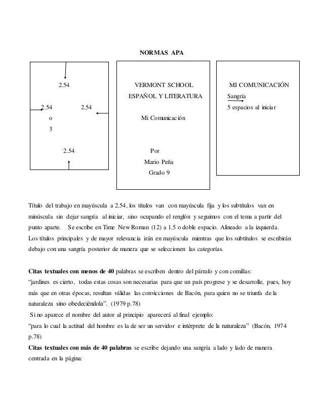 NORMAS APA 2.54 VERMONT SCHOOL MI COMUNICACIÓN ESPAÑOL Y LITERATURA Sangría 2.54 2.54 5 espacios al iniciar o Mi Comunicac...
