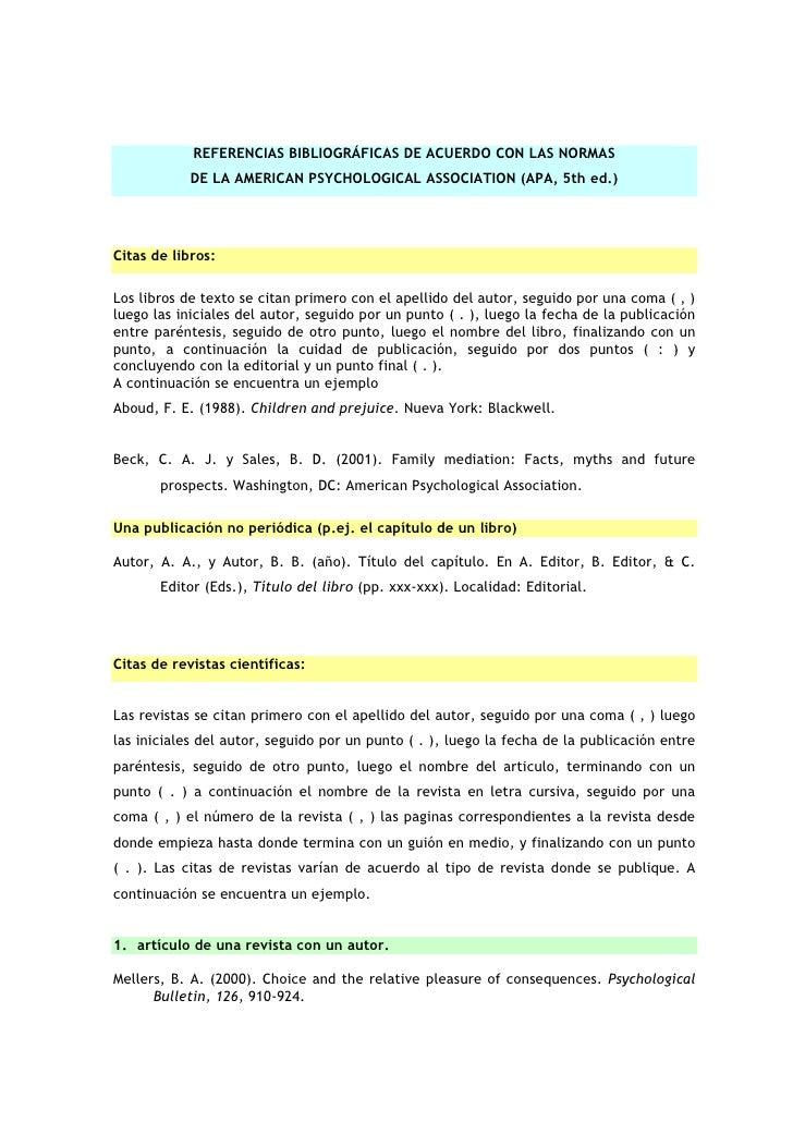 REFERENCIAS BIBLIOGRÁFICAS DE ACUERDO CON LAS NORMAS            DE LA AMERICAN PSYCHOLOGICAL ASSOCIATION (APA, 5th ed.)Cit...