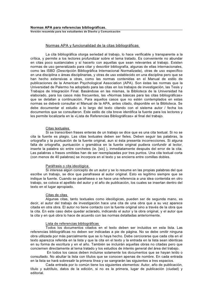Normas APA para referencias bibliográficas.Versión resumida para los estudiantes de Diseño y Comunicación          Normas ...