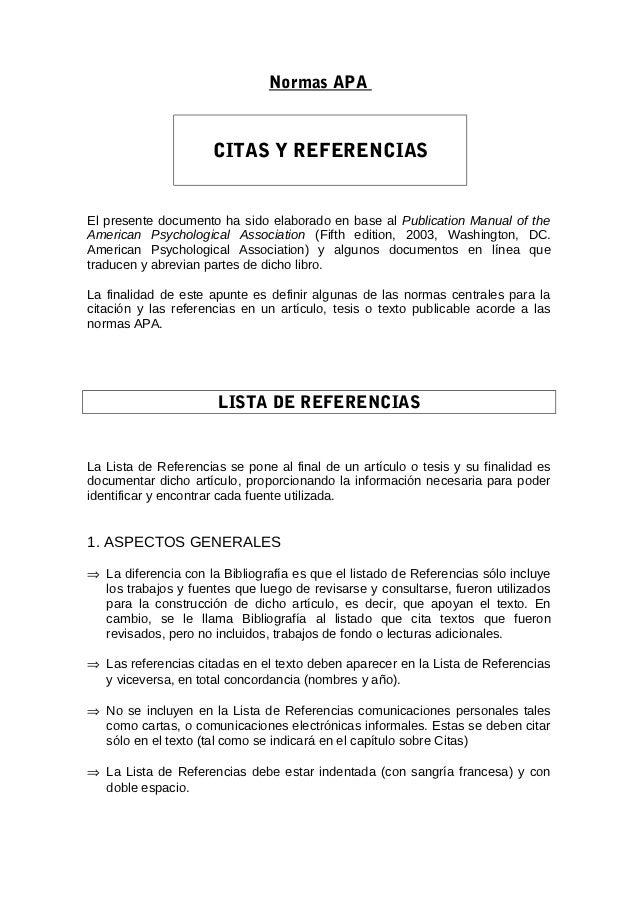 Normas APA                     CITAS Y REFERENCIASEl presente documento ha sido elaborado en base al Publication Manual of...