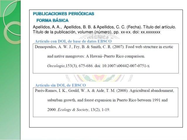 Formas básicas para libros completosApellidos, A.A. (Año). Título. Ciudad: Editorial.Apellidos, A.A. (Año). Título. Recupe...