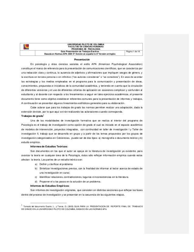 UNIVERSIDAD PILOTO DE COLOMBIA                                              FACULTAD DE CIENCIAS HUMANAS                  ...