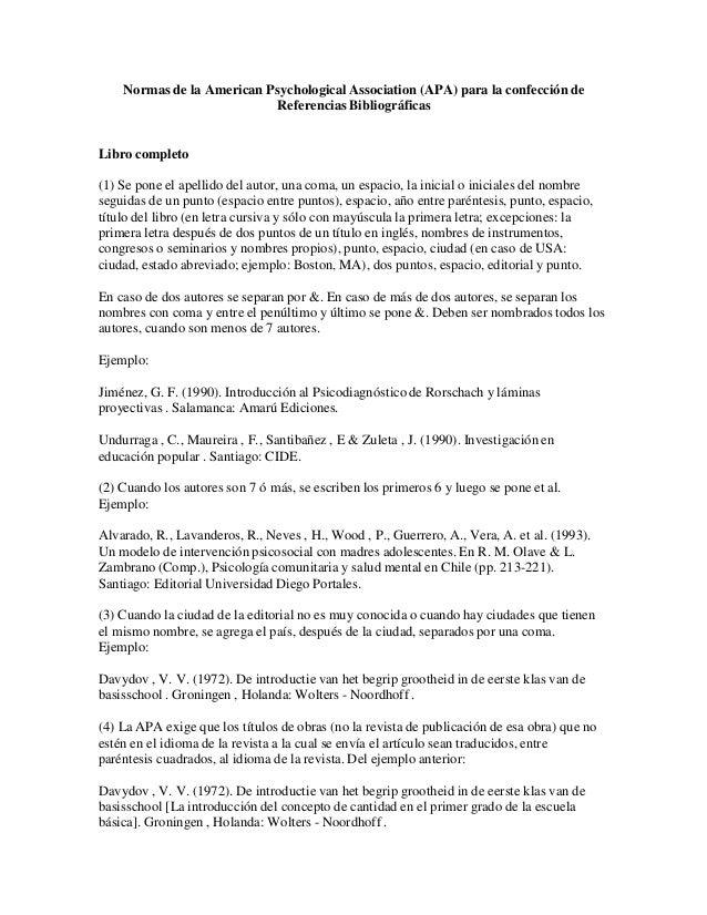 Normas de la American Psychological Association (APA) para la confección de Referencias Bibliográficas  Libro completo (1)...