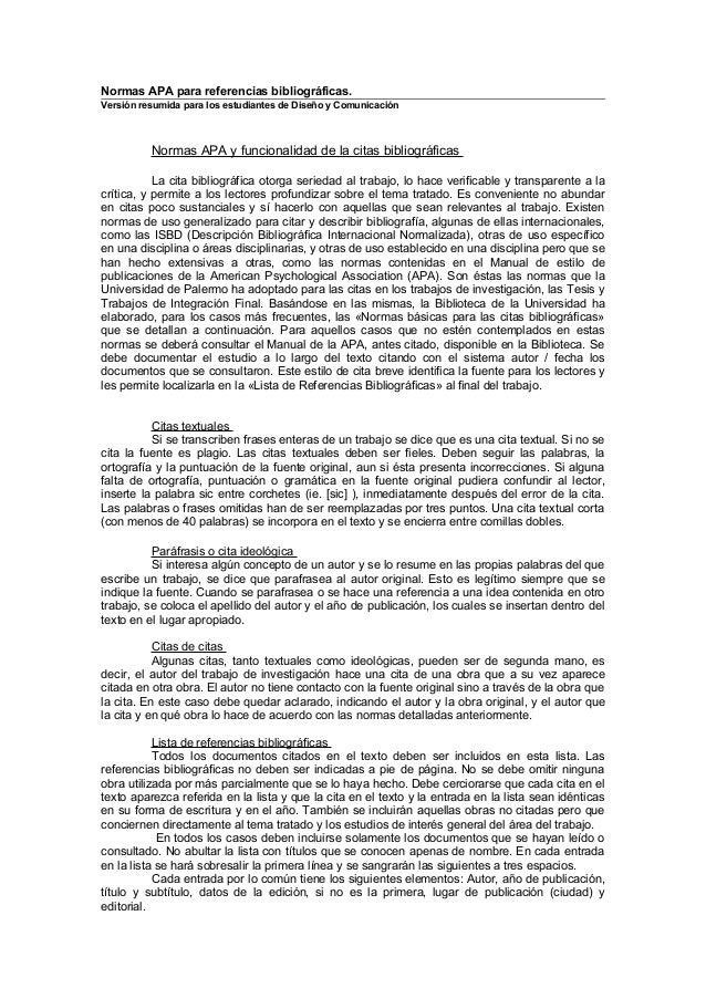 Normas APA para referencias bibliográficas.  Versión resumida para los estudiantes de Diseño y Comunicación  Normas APA y ...