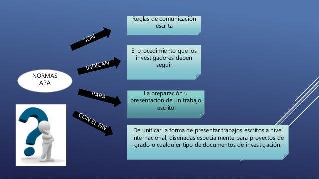 NORMAS  APA  Reglas de comunicación  escrita  El procedimiento que los  investigadores deben  seguir  La preparación u  pr...