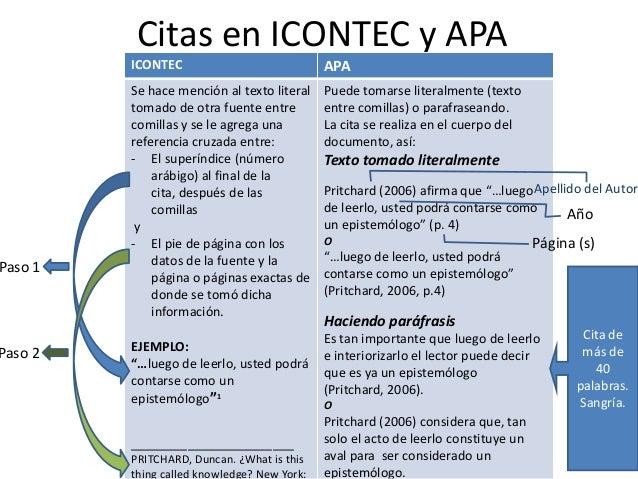 Paso 1  Paso 2  Citas en ICONTEC y APA ICONTEC  APA  Se hace mención al texto literal tomado de otra fuente entre comillas...