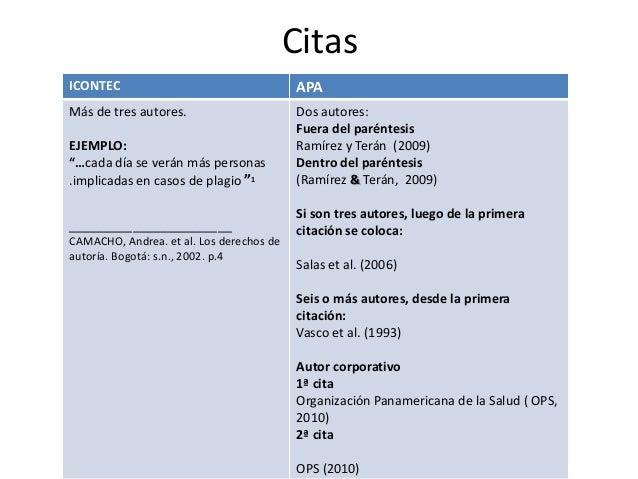 """Citas ICONTEC  APA  Más de tres autores. EJEMPLO: """"…cada día se verán más personas .implicadas en casos de plagio """"1  Dos ..."""