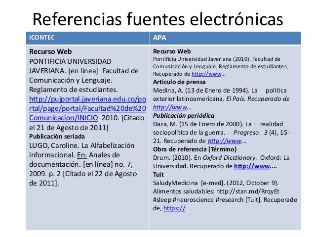 Referencias fuentes electrónicas ICONTEC  APA  Recurso Web PONTIFICIA UNIVERSIDAD JAVERIANA. [en linea] Facultad de Comuni...