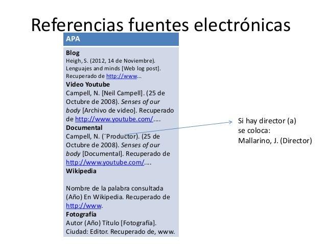 Referencias fuentes electrónicas APA Blog Heigh, S. (2012, 14 de Noviembre). Lenguajes and minds [Web log post]. Recuperad...