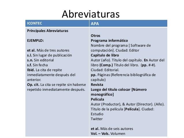 Abreviaturas ICONTEC  APA  Principales Abreviaturas EJEMPLO: et al. Más de tres autores s.l. Sin lugar de publicación s.n....