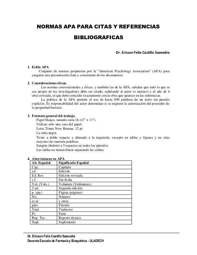 NORMAS APA PARA CITAS Y REFERENCIAS                                BIBLIOGRÁFICAS                                         ...