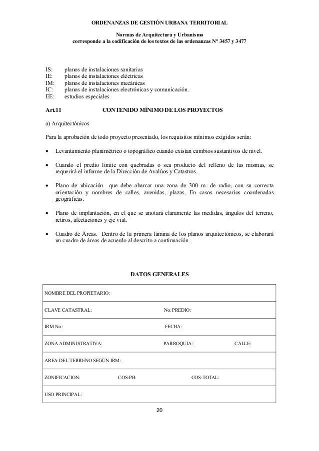 ORDENANZAS DE GESTIÓN URBANA TERRITORIAL                                 Normas de Arquitectura y Urbanismo              c...