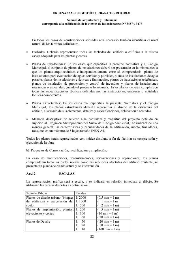 ORDENANZAS DE GESTIÓN URBANA TERRITORIAL                              Normas de Arquitectura y Urbanismo           corresp...