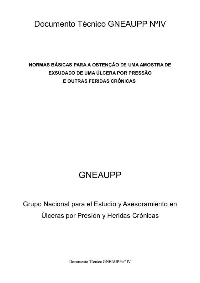 Documento Técnico GNEAUPP NºIV  NORMAS BÁSICAS PARA A OBTENÇÃO DE UMA AMOSTRA DE  EXSUDADO DE UMA ÚLCERA POR PRESSÃO  E OU...