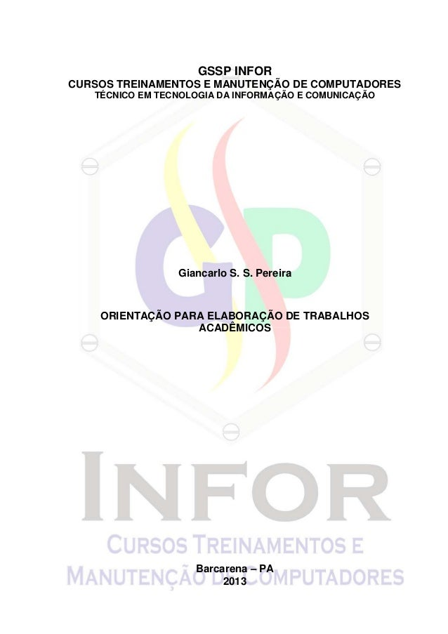 GSSP INFORCURSOS TREINAMENTOS E MANUTENÇÃO DE COMPUTADORES   TÉCNICO EM TECNOLOGIA DA INFORMAÇÃO E COMUNICAÇÃO            ...
