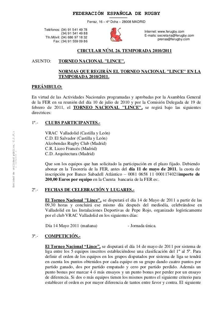 FEDERACIÓN ESPAÑOLA DE RUGBY                                                                          Ferraz, 16 – 4º Dcha...