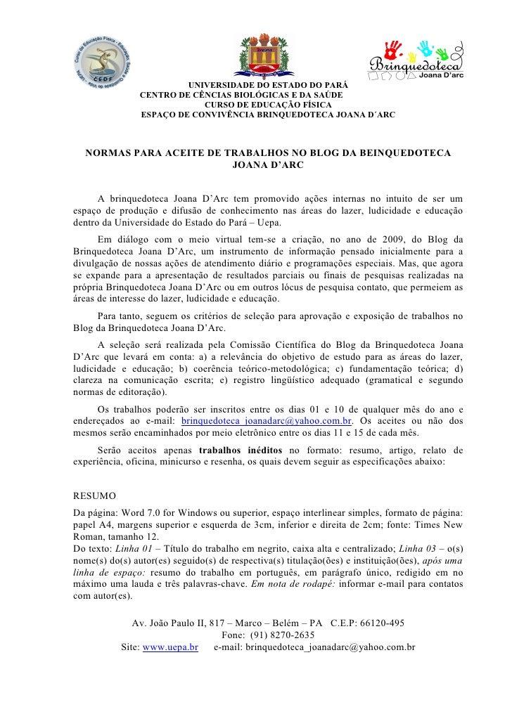 UNIVERSIDADE DO ESTADO DO PARÁ                 CENTRO DE CÊNCIAS BIOLÓGICAS E DA SAÚDE                             CURSO D...