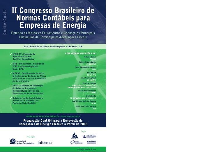 II Congresso Brasileiro de Conferência                     Normas Contábeis para                   Empresas de Energia    ...